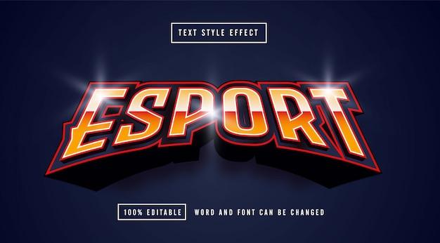 Esport line red effetto di testo modificabile vettore premium