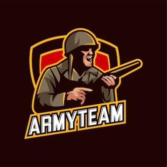 Esports logo gioco army camp shooter
