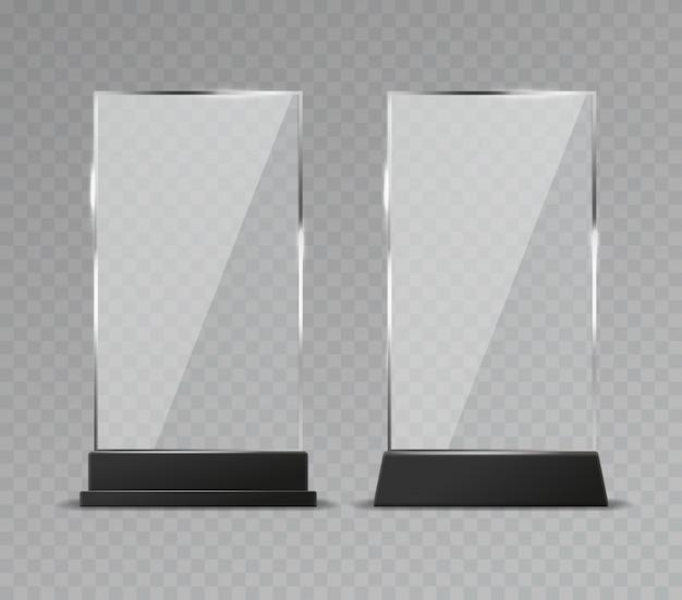 Espositore da tavolo in vetro. la tavola di vetro trasparente dell'ufficio firma i piatti brillanti di riflessione moderna di plastica del supporto chiaro