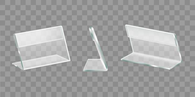 Espositori da tavolo in acrilico set vettoriali realistici