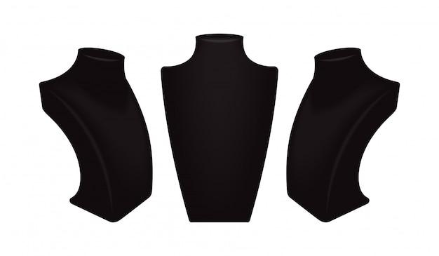 Espositori di collana nera di vettore impostati per gioielli.