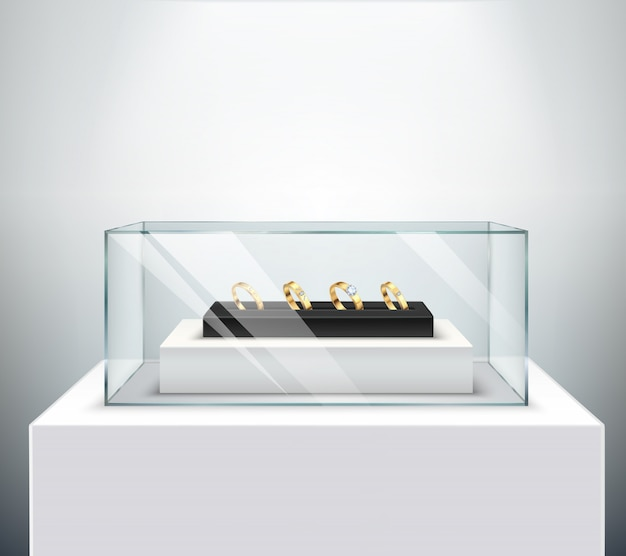 Espositori per fedi nuziali in oro esclusivo con diamante in lussuoso vetro espositore