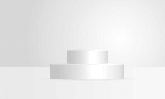 Esposizione bianca geometrica del prodotto di forme del cirlce 3d