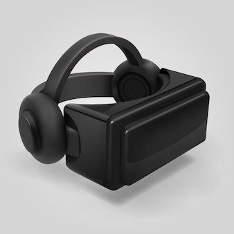 Esposizione di vetro futuristica 3d di realtà virtuale. illustrazione di vettore isolata visiera casco vr. casco