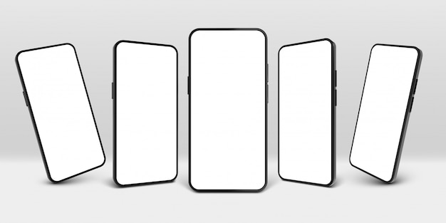 Esposizione realistica del telefono cellulare, cornice dello schermo del dispositivo e insieme nero dell'illustrazione del modello degli smartphone 3d. media connessione, gadget presentazione nuovo modello