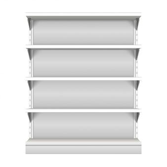 Esposizione vuota in bianco bianca della vetrina con gli scaffali al minuto. vista frontale 3d