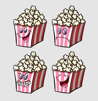 Espressione del personaggio dei cartoni animati dell'icona dell'emoticon del popcorn