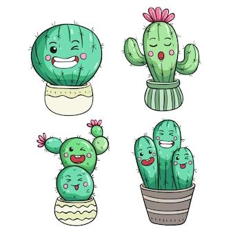Espressione di cactus carino o faccia di kawaii