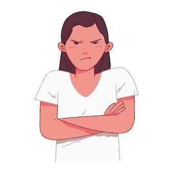 Espressione di una giovane donna che era arrabbiata mentre si piegava le mani sul petto
