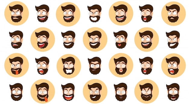 Espressione diversa impostata con la faccia di cartone animato uomo barbuto