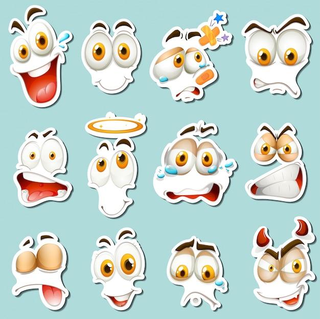 Espressione facciale diversa su sfondo blu