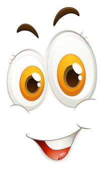 Espressione facciale felice su bianco