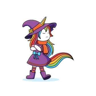 Espressione imbronciata strega unicorno