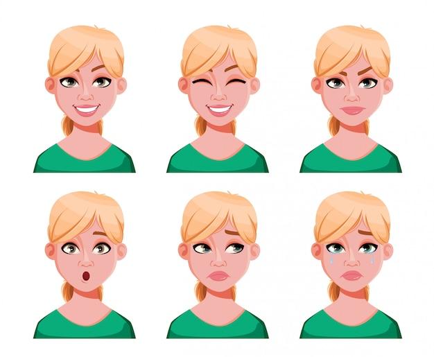 Espressioni del viso di donna bionda carina