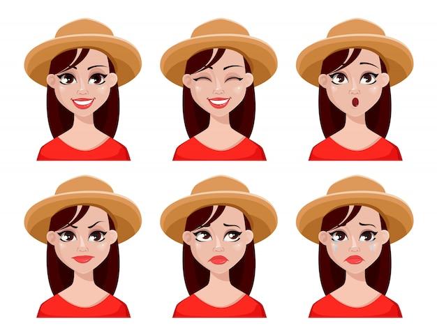 Espressioni faccia di donna contadina in cappello