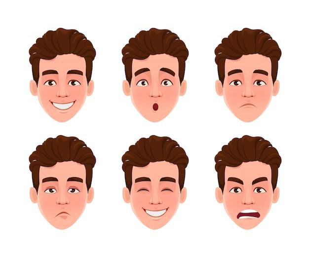 Espressioni facciali di bell'uomo