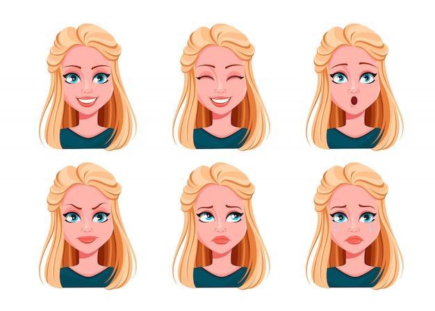 Espressioni facciali di bella donna