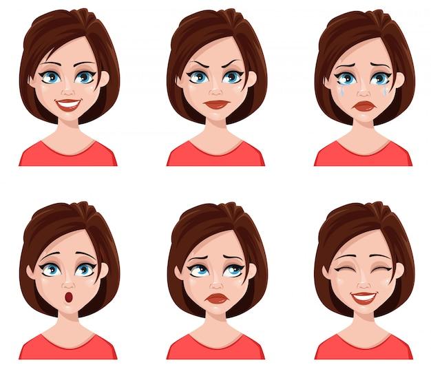 Espressioni facciali di donna carina.