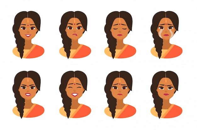 Espressioni facciali di donna indiana con bindi