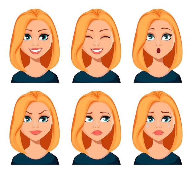 Espressioni facciali di donna
