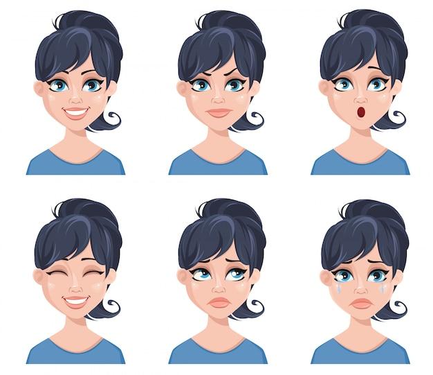 Espressioni facciali di una bella donna