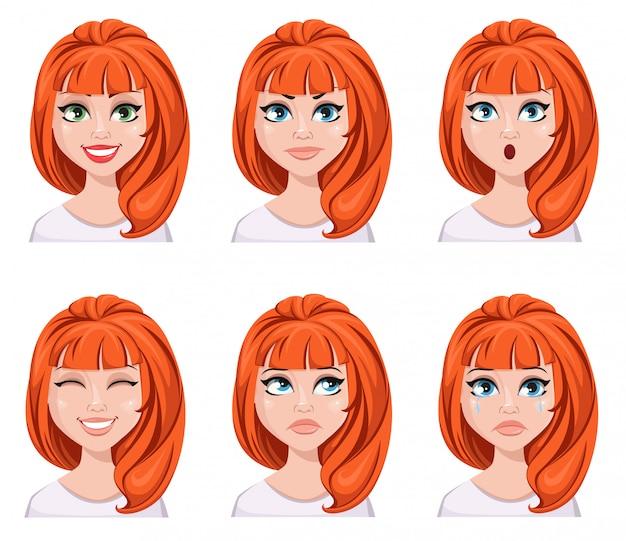 Espressioni facciali di una donna rossa