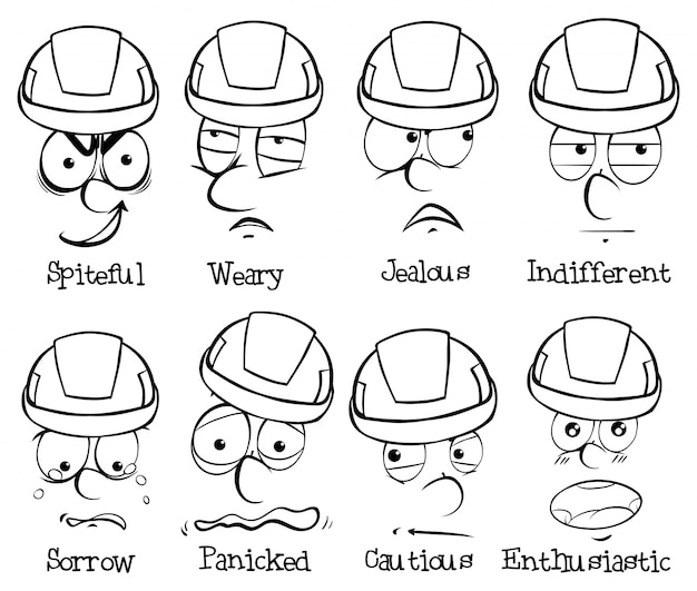 Espressioni facciali e parole su sfondo bianco