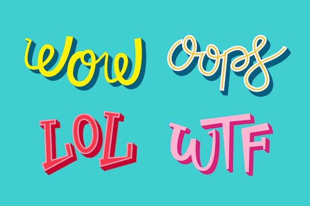 Espressioni in stile retrò lettering collezione