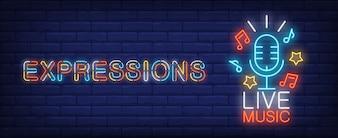 Espressioni sull'insegna al neon di musica dal vivo. Microfono blu con stelle e segni di melodia