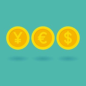Esprima sì fatto dei simboli di valuta gialli delle monete dorate. illustrazione di yen, euro, dollaro