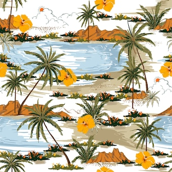 Estate aloha modello vettoriale isola senza soluzione di continuità.