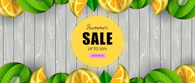 Estate banner vendita frutta tropicale