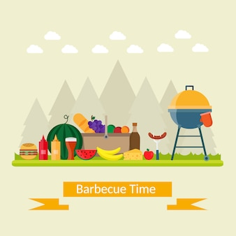 Estate barbecue pic-nic sul prato sotto l'ombrello.