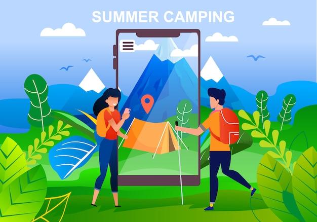 Estate campeggio in montagne pubblicità dei cartoni animati. i turisti uomo e donna sono in piedi davanti a un enorme schermo mobile. gps navigator punto sulla tenda inclinata sulla valle.