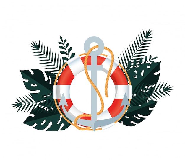 Estate con foglie tropicali e bagnino galleggiante