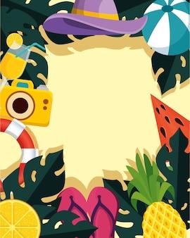 Estate con foglie tropicali e icone set spiaggia