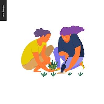 Estate della gente che fa il giardinaggio - un'illustrazione piana di concetto di vettore di due giovani donne