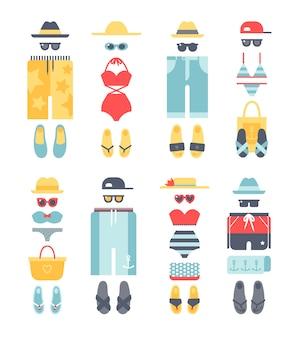 Estate di vettore piatto diverso beachwear, sguardi di moda di abbigliamento beachwear.
