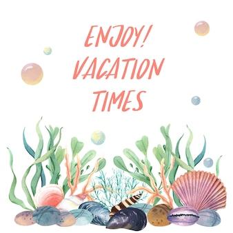 Estate di vita marina di conchiglia di mare sulla spiaggia