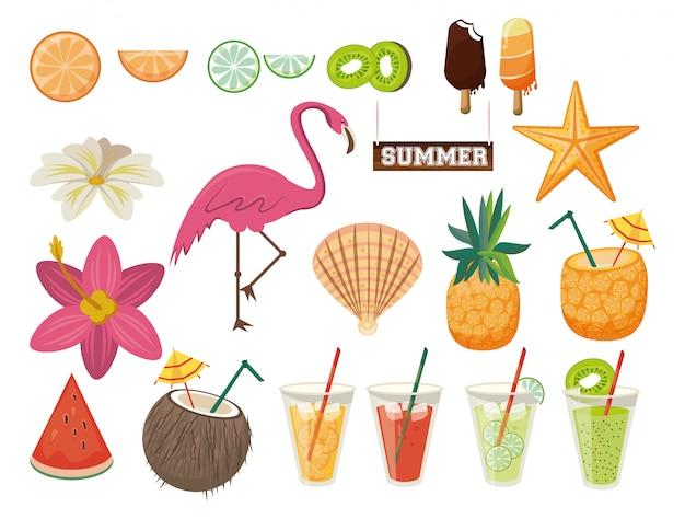 Estate e spiaggia insieme di elementi, frutta, fenicotteri e bevande