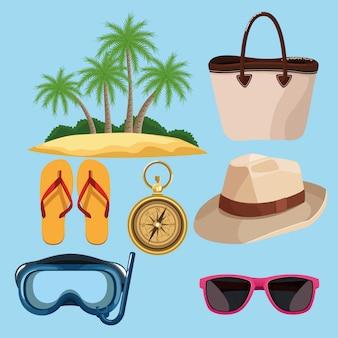 Estate e spiaggia insieme di elementi