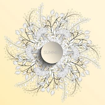 Estate floreale sotto forma di una corona di fiordalisi e foglie.