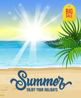 Estate, godetevi le vostre vacanze, poster di grande vendita stagionale con oceano, spiaggia tropicale