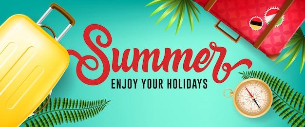 Estate, goditi il tuo banner di vacanze con foglie tropicali, bussole e astucci da viaggio