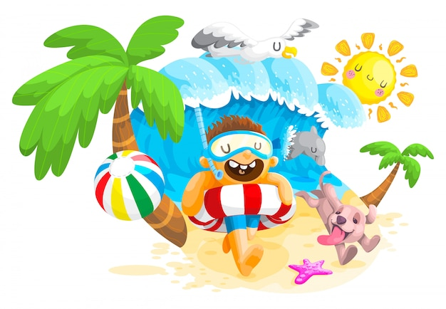Estate in spiaggia, ragazzo e cane giocano in spiaggia