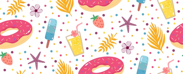 Estate seamless con limonata, ciambelle gonfiabili, gelati e foglie di palme.