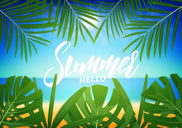 Estate. sfondo tropicale con foglie di palma tropicale e spiaggia esotica. sfondo esotico estivo