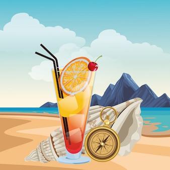 Estate spiaggia e vacanze cartoon