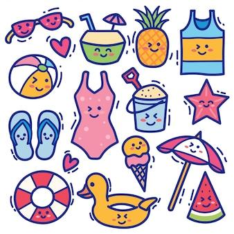 Estate spiaggia kawaii doodle illustrazione