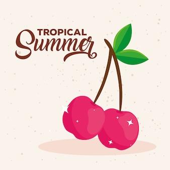 Estate tropicale, ciliegie frutta fresca